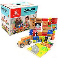 Деревянная игрушка конструктор блоки Top Bright «Город», 1+, 84 деталей (120114), фото 1