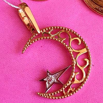Золота мусульманська підвіска Півмісяць із зіркою - Кулон Місяць із зіркою золото 585 проби