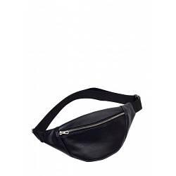 Черная кожаная сумка бананка Hoso MSS