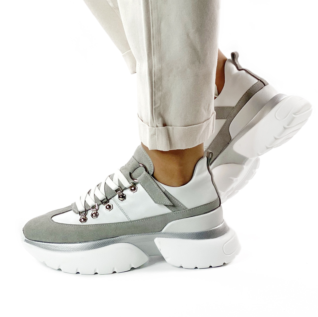 Жіночі сірі кросівки MORENTO - білий-сірий, натуральна шкіра, натуральна замша, весна/літо/осінь