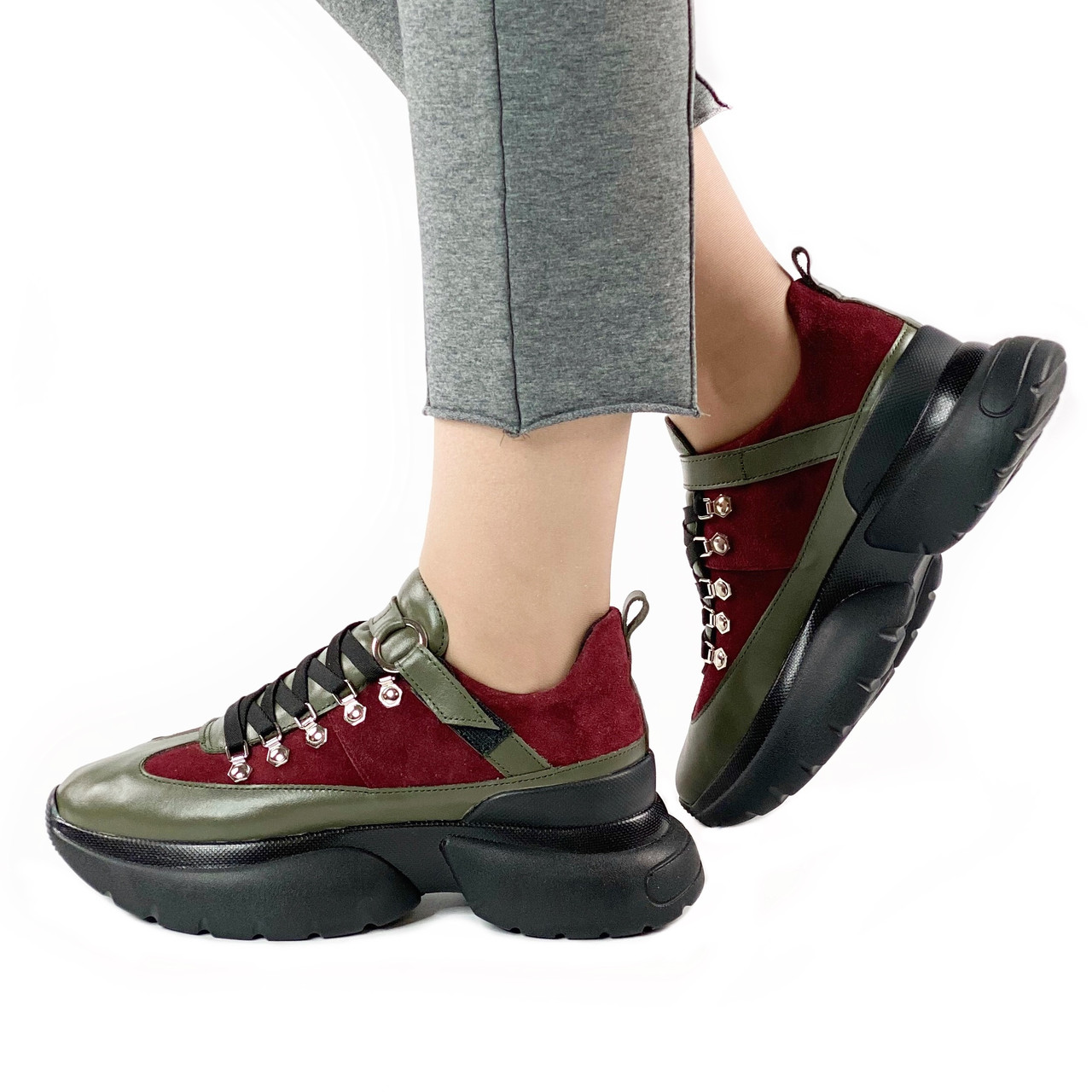 Жіночі кросівки MORENTO - хакі-бордові, натуральна шкіра, натуральна замша, весна/літо/осінь