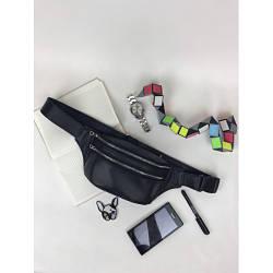 Черная кожаная сумка бананка Tirso 0ST с кожаным ремнем