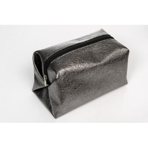 Женская косметичка из экокожи из экокожи  0SH темное серебро