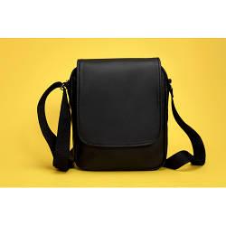Черная сумка  мессенджер из экокожи  унисекс