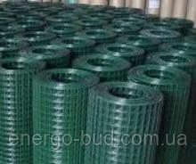 Сітка зварна в рулоні 50х100,цинк +ПВХ зелена, D 2.2 мм, H 1.5 м, L 10 м. пог
