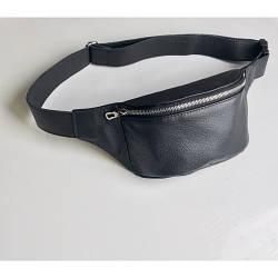 Черная кожаная сумка бананка Tirso 0SS зс кожаным ремнем