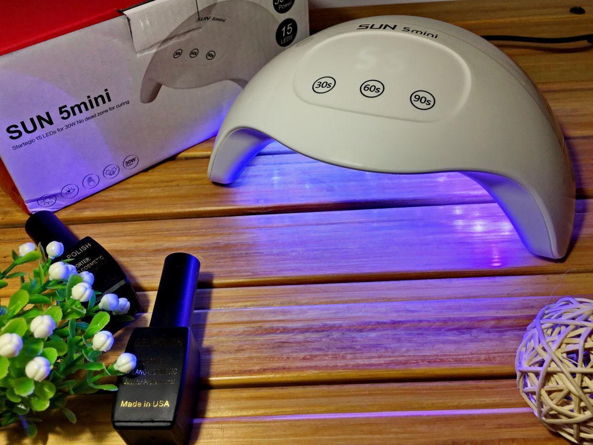 LED лампа для полимеризации гелей и лака SUN 5 Mini, для ногтей, с таймером, 24W, сенсорная, Белая