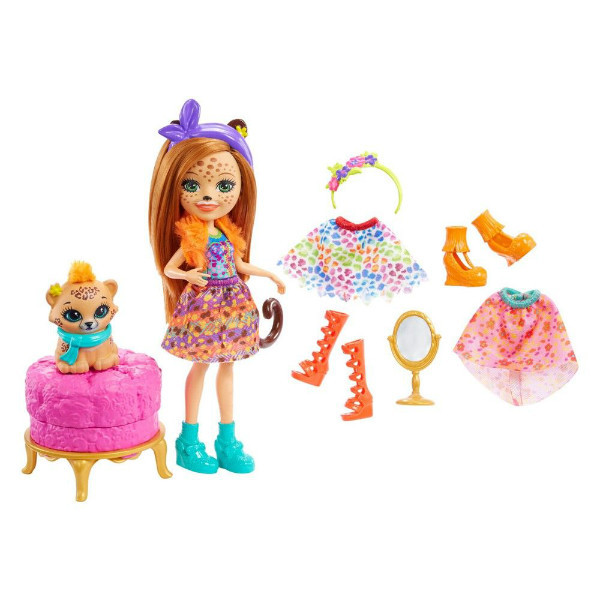Enchantimals Модный наряд кукла Чериш Гепарди и Квик Fashion Fun Cherish Cheetah Doll Quick-quick Figure