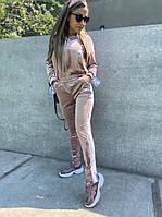 Стильный женский велюровый спортивный костюм двойка,куртка на змейке с капюшоном,брюки на резинке(42-50)