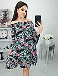 Платье с открытыми плечами из штапеля 35-321, фото 4