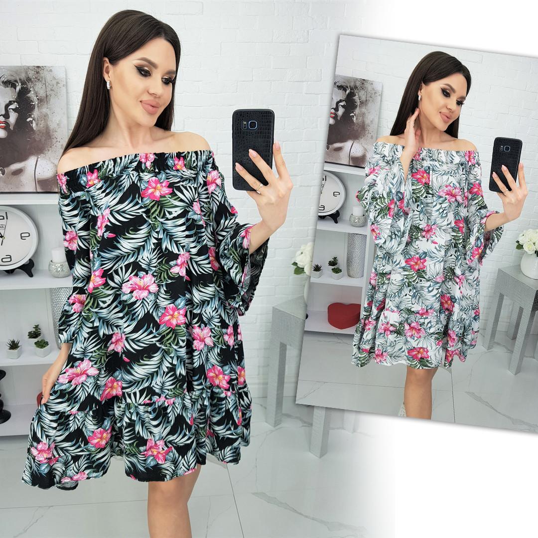 Платье с открытыми плечами из штапеля 35-321