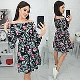 Платье с открытыми плечами из штапеля 35-321, фото 2