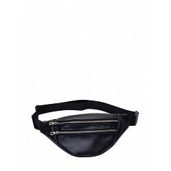 Черная кожаная сумка бананка Hoso MTS