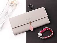 Женский элегантный серый кошелек Prettyzys на кнопке с листиком, кошелек кожзам, клатч, портмоне