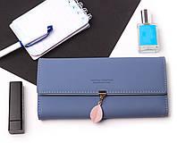 Женский элегантный синий кошелек Prettyzys на кнопке с листиком, кошелек кожзам, клатч, портмоне