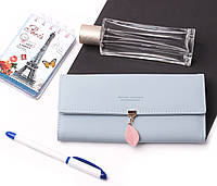 Женский элегантный голубой кошелек Prettyzys на кнопке с листиком, кошелек кожзам, клатч, портмоне