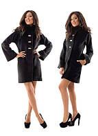 Пальто черное прямое кашемировое. Арт-0965.