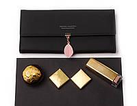 Женский элегантный черный кошелек на кнопке с листиком, кошелек кожзам, клатч, портмоне