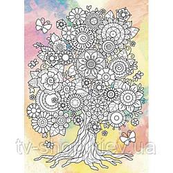 "Роспись по холсту ""Дерево жизни"", палитра топаз ★★★★ 25 x 18 см"
