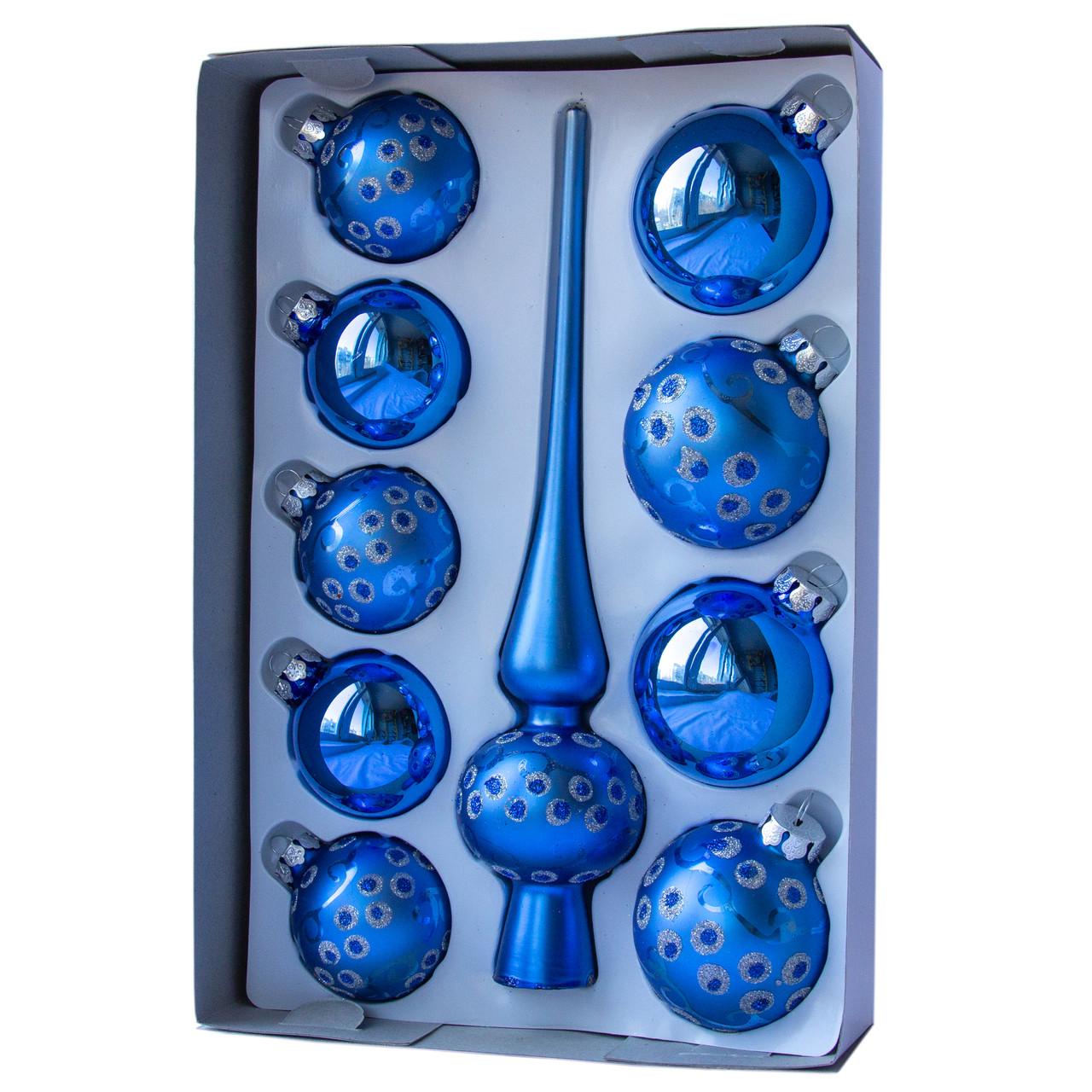 Набор елочных игрушек с верхушкой, 10 шт., синий в точку (390267-9)