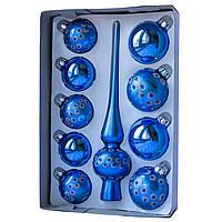 Набор елочных игрушек с верхушкой, 10 шт., синий в точку (390267-9), фото 1