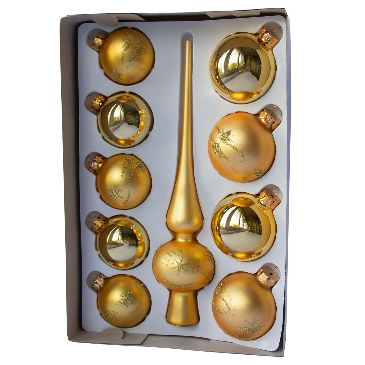 Набор елочных игрушек с верхушкой, 10 шт., золото в снежинку (390267-18)