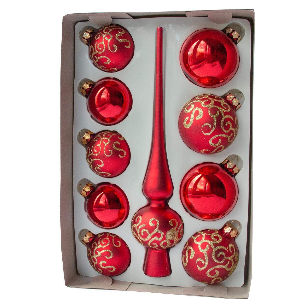 Набор елочных игрушек с верхушкой, 10 шт., красный волнистый (390267-23)