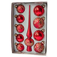 Набор елочных игрушек с верхушкой, 10 шт., красный волнистый (390267-23), фото 1