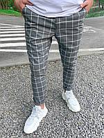 Штаны мужские брюки серые в клетку стильные