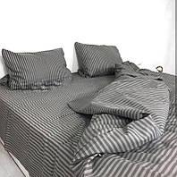 Комплект качественного постельного белья евро размер, серея полоска