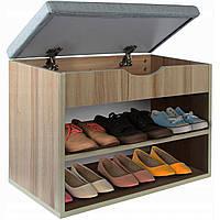 Тумба для обуви в прихожую с мягким сиденьем и полкой  - Шаетто YAKVGATTO В*430xГ*300хШ*600мм.