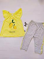 Летний комплект для девочки: платье и штанишки