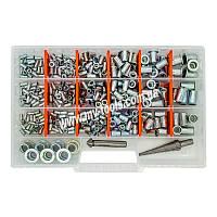 Набор резьбовых заклепок GOEBEL M3-M12 из оцинкованной стали Professional (470 шт + зенкер + сверло)
