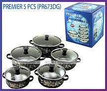 Набор эмалированных кастрюль со стеклянными крышками Premier PR-673DG из 5 шт. (Черный)