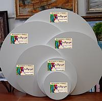 Бавовняне полотно на  круглому підрамнику 70х70см (галерейна натяжка, середнє зерно, колір білий ,)