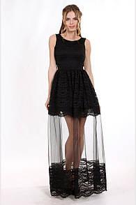 Enigma Store G 2219 Платье вечернее с кружевом шантильи и вставкой из сетки