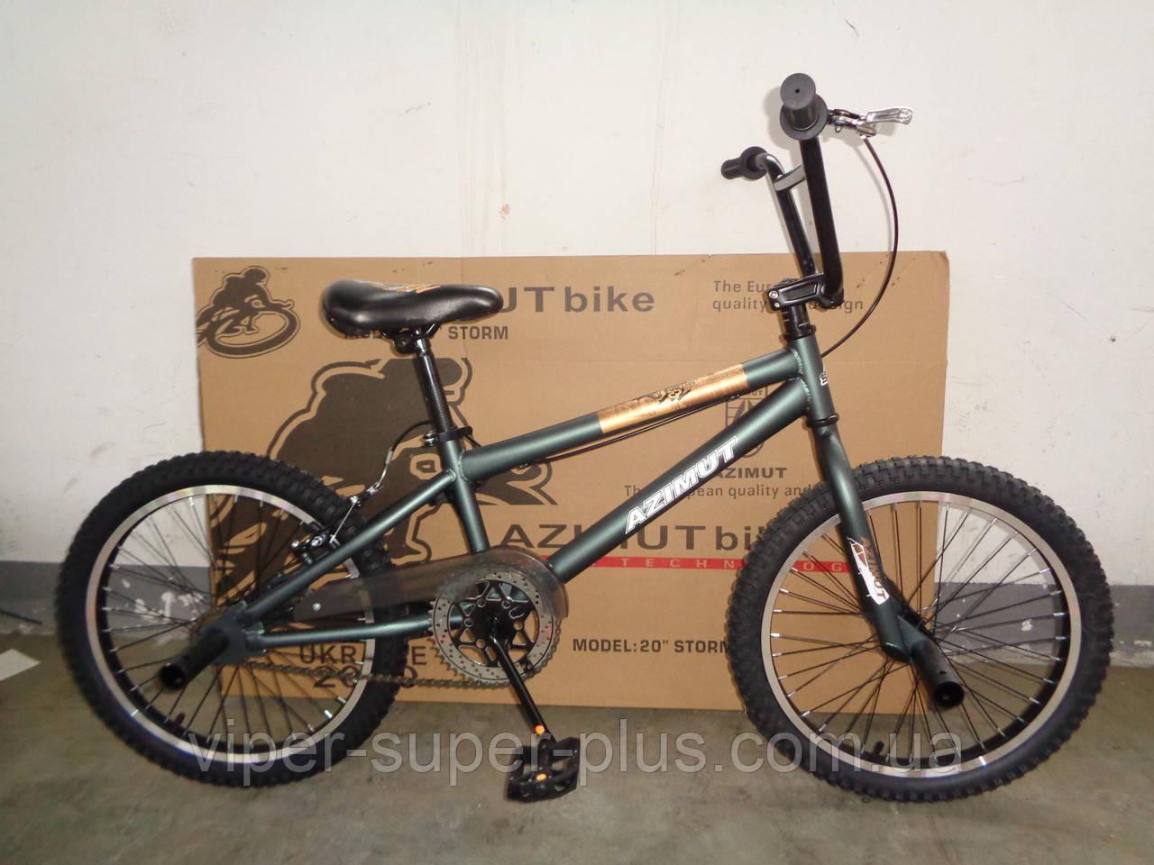 """Велосипед bmx для начинающих Azimut Storm 20"""" Зеленый"""