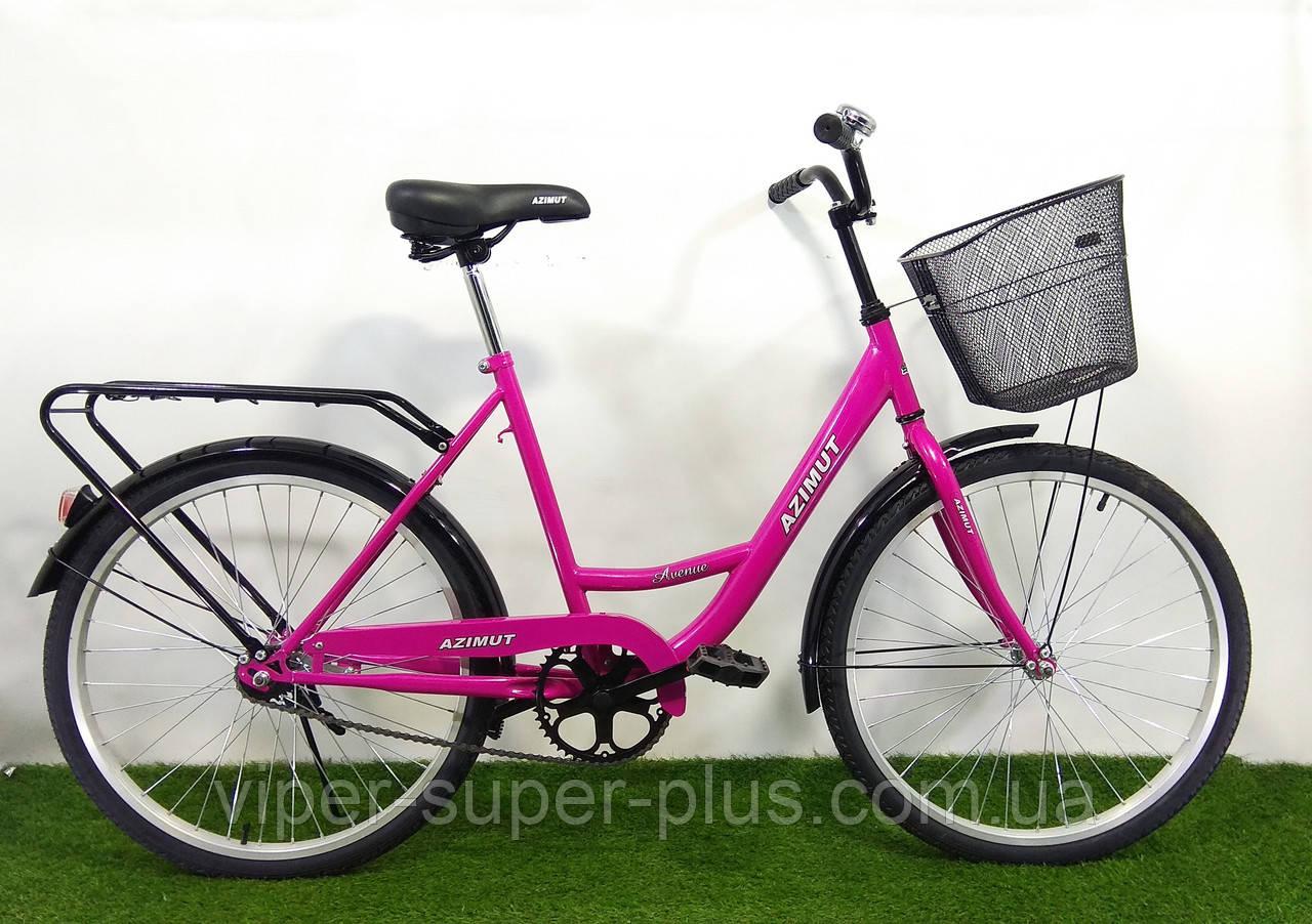 """Велосипед с низкой рамой Azimut Lady F-5 24"""" малиновый"""