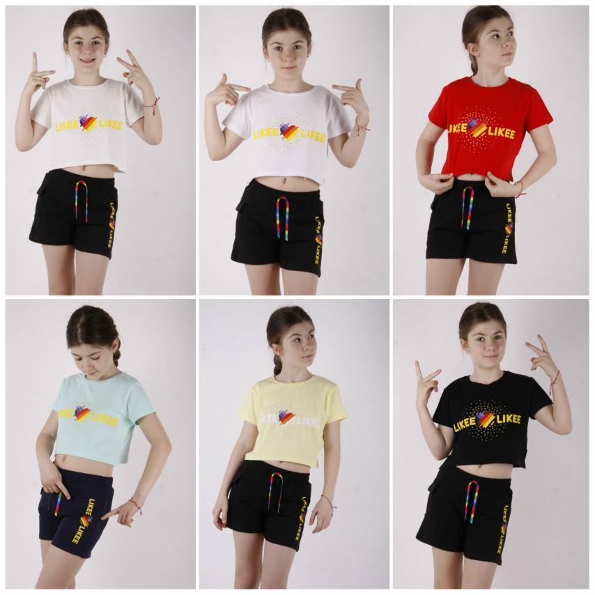 Комплект для  деочки: футболка-топ с коротким рукаврм.+шорты, принт Likee, TonToy
