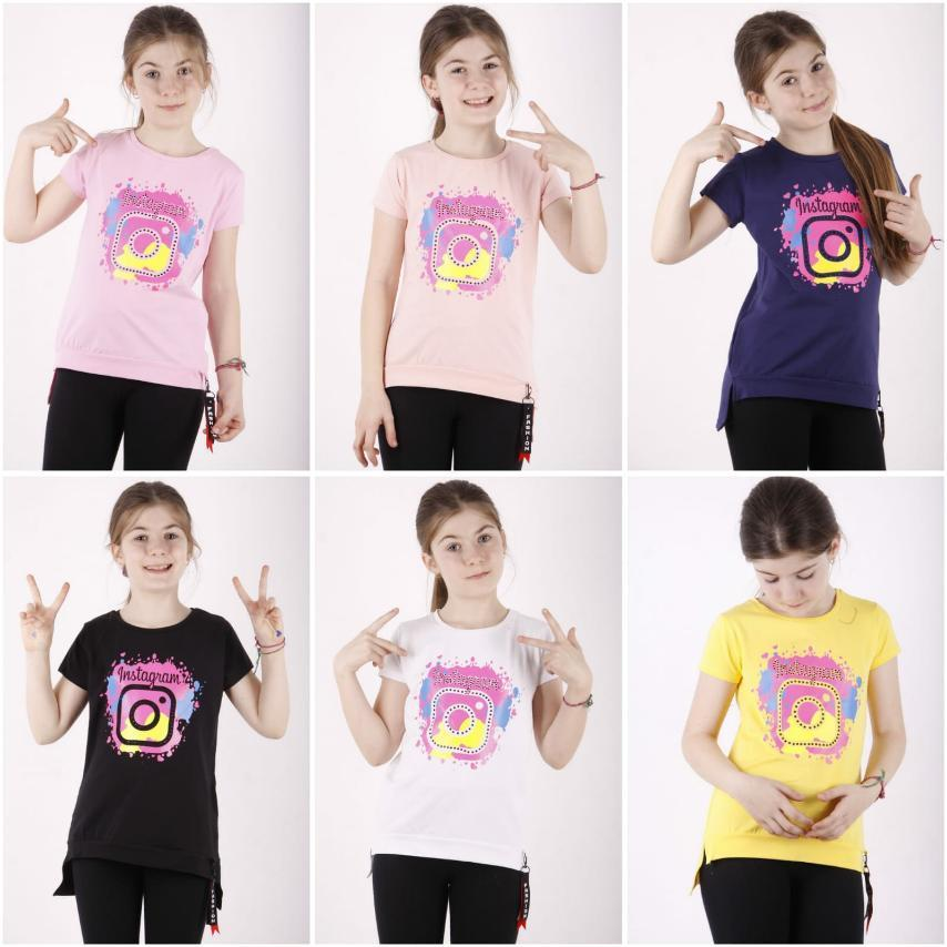 Футболка для девочки с коротким рукавом, накат, принт Instagram, TonToy  (размер 10(140))