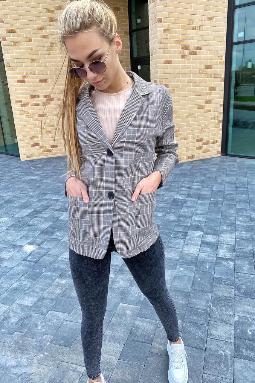 Классический клетчатый женский пиджак LUREX - кофейный цвет, L (есть размеры)