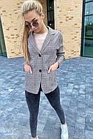 Классический клетчатый женский пиджак LUREX - кофейный цвет, L (есть размеры), фото 1