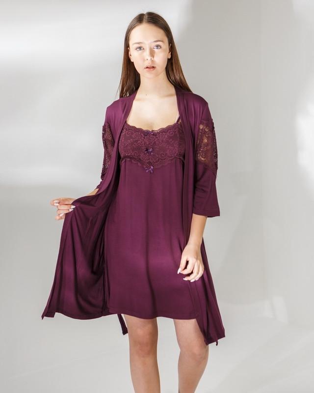 Женский  халат   и сорочка с кружевом Nicoletta