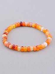 Браслет на руку из оранжевого сердолика длина 18 см диаметр бусин 6,5 SUNSTONES