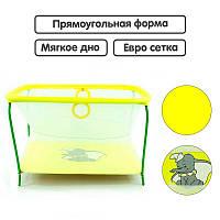 Манеж евро Люкс Слоник - Желтый прямоугольный, мягкое дно, евро сетка SKL11-219215