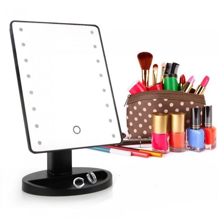 Зеркало для макияжа с LED подсветкой Large Led Mirror 16 LED ЧёрныйНет в наличии