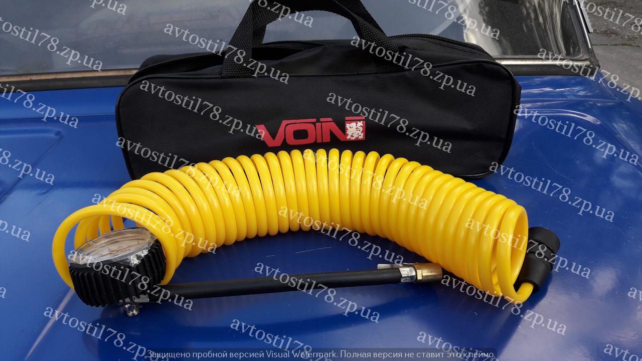 Шланг компрессора Voin VP-104 спиральный с манометром сумка