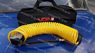 Шланг компресора Voin VP-104 спіральний з манометром сумка