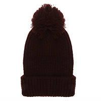Женская вязаная шапка с помпоном