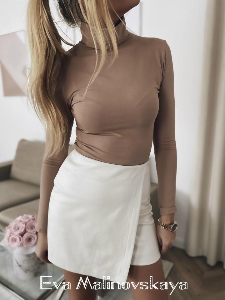 Женская юбка, плотный замш на дайвинге, р-р 42; 44; 46 (молочный)